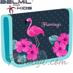 Belmil Classy Ученически празен несесер с 1 цип Paradise Flamingo 335-72-48