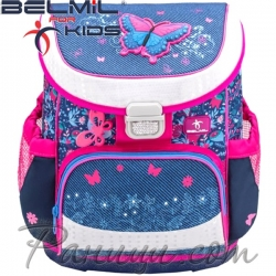 Belmil Mini Fit Ергономична ученическа раница Butterfly Jeans 405-33-3