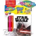 Colorino Kids Цветни моливи Jumbo 12 цвята + острилка Star Wars 89472