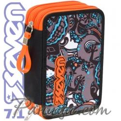 Seven 7.1 Ученически пълен несесер с 3 ципа Salamander Orange 36654