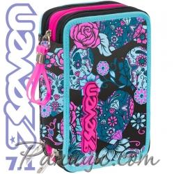 Seven 7.1 Ученически пълен несесер с 3 ципа Romance Blue 36660