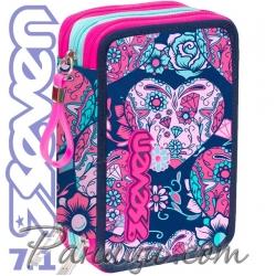 Seven 7.1 Ученически пълен несесер с 3 ципа Romance Pink 36660