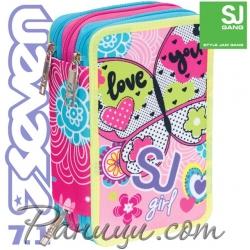 Seven 7.1 Ученически пълен несесер с 3 ципа SJ Girl Pink 36935
